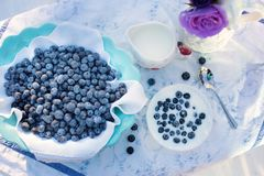Blueberries, Cream, Dessert
