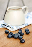 Blueberries with Creamer Stock Image