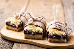 Blueberries crumble bars royalty free stock photos