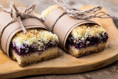 Blueberries crumble bars royalty free stock photo