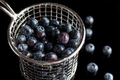 Blueberries in cup strainer from side high angle Royalty Free Stock Photo