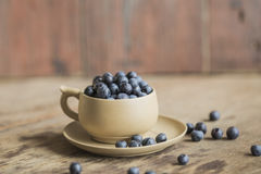 Blueberries in a cup. Blueberries in the cup on a wooden background stock photo