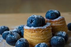 Blueberries with dough baskets stock images