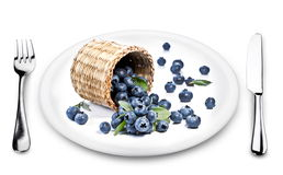 Blueberries fall of the basket on a plate. Royalty Free Stock Photography