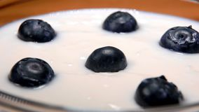 Blueberries falling into a glass bowl with the yogurt. Close-up of blueberries falling into a glass bowl with the yogurt stock video footage