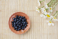 Blueberries and flowers. Blueberries and camomile on a table Stock Photography