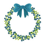 Blueberries Frame With Blue Bow. Stock Photo