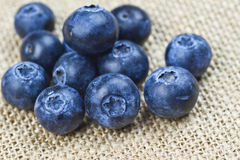 Blueberries. Fresh blueberry  on the top of jute sheet Stock Photo