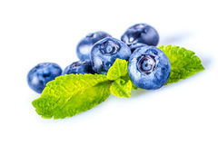Blueberries. Fresh blueberries with mint on a white background Royalty Free Stock Photos