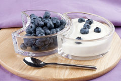 Blueberries with fresh yogurt Royalty Free Stock Photos