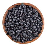Blueberries fruit in a wooden bowl on a white Royalty Free Stock Photos