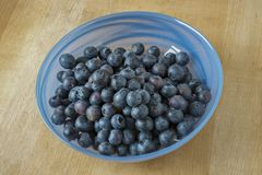 Blueberries in a glass bowl stock images