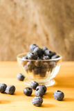 Blueberries in a glass bowl of French Royalty Free Stock Photo