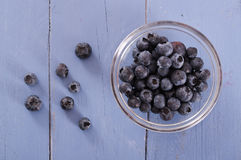 Blueberries in glass bowl. Royalty Free Stock Photos