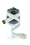 Blueberries in a glass and meter Royalty Free Stock Image