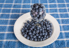 Blueberries in Glass on Plate Royalty Free Stock Images
