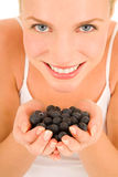 Blueberries in the hands Royalty Free Stock Photography
