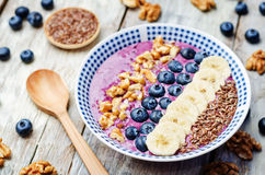 Blueberries healthy smoothies breakfast bowls Stock Photography
