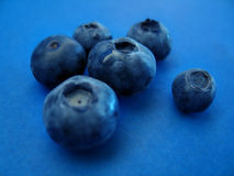 Blueberries II. Macro of fresh blueberries on a blue surface. Focus in the center. Please note that what you see on the blue surface is not grain, but is the royalty free stock images
