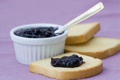 Blueberries jam on toast Stock Photos