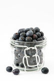 Blueberries in jar isolated on white background Stock Images