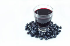 Blueberries and juice Stock Image