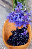 Blueberries in a large wooden spoon stock photography