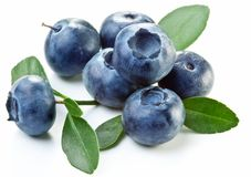 Blueberries with leaves Royalty Free Stock Photos