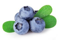 Blueberries with leaves close-up isolated on a white. royalty free stock images