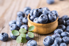 Blueberries with leaves Stock Photos