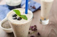 Blueberries milk shake Royalty Free Stock Images
