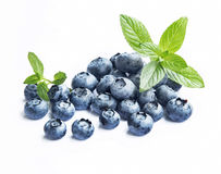 Blueberries with Mint Leaves Isolated Stock Photo