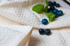 Blueberries with mint leaves on linen. Still life of some blueberries with green mint leaves on linen Royalty Free Stock Image