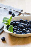 Blueberries and mint in a white bowl on wooden background Stock Photography