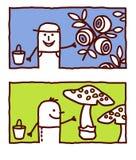 Blueberries & mushrooms picking Stock Photo