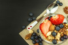 Blueberries and oatmeal. Healthy food for kids. Yogurt and fruit for athletes. Diet food. royalty free stock photography