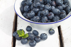 Blueberries. Organic Blueberries on wooden table Stock Photography