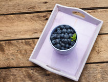 Blueberries. Organic Blueberries on wooden table Royalty Free Stock Images