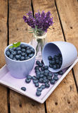 Blueberries. Organic Blueberries on wooden table Royalty Free Stock Image