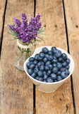 Blueberries. Organic Blueberries on wooden table Stock Images