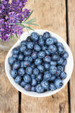 Blueberries. Organic Blueberries on wooden table Stock Photos