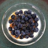 Blueberries over yogurt Royalty Free Stock Photography