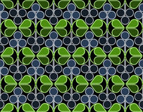 Blueberries Pattern. Scandinavian geometric pattern with stylized blueberries and bilberries on dark background. Vector seamless repeat Royalty Free Stock Images