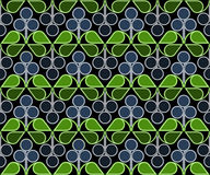 Blueberries Pattern. Scandinavian geometric pattern with stylized blueberries and bilberries on dark background. Vector seamless repeat Stock Photos