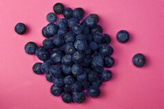 Blueberries on pink stock image
