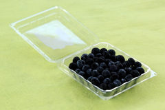 Blueberries in a Plastic Box Stock Photo