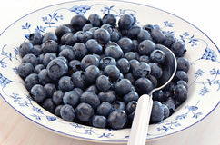 Blueberries in a pretty dish. Freshly washed blueberries in a pretty blue and white dish Royalty Free Stock Image