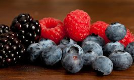 Blueberries and Raspberries Stock Image