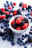 Blueberries, raspberries and black berries. fresh berries. On white background Royalty Free Stock Photos