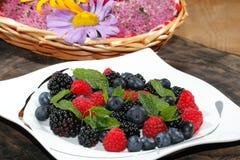 Blueberries, raspberries, blackberries Royalty Free Stock Photo